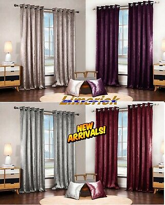 Luxurious Paloma Curtains And Cushion Faux Velour Velvet Lined Eyelet Curtains
