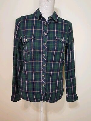Fat Face Ladies Green Navy Blue Check Brushed Cotton Shirt Size 10 Classic Fit