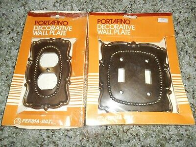 2 Vintage NOS Metal Brass Color Ornate Decorative Receptacle Wall Plate Covers