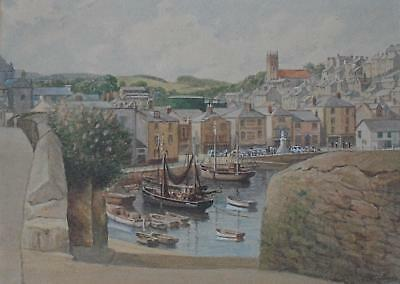 Charming Watercolour Fishing Boats in Harbour Poss Cornwall c1960s Inds A/E Wood