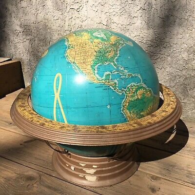 "Atomic World Globe 16"" In Diameter George F Cram Co Metal Stand Cradle RARE"
