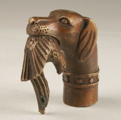 Chinese Bronze Hand-Cast Dog Bird Walking Stick Head Collection Handle