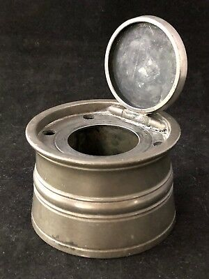 Antique Pewter Inkwell for British Stationery Office 19th Century, 5 Quill Holes
