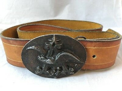 "Vintage ANHEUSER-BUSCH Belt Buckle Beer - Eagle Emblem w/ Leather Belt 41"" Long"