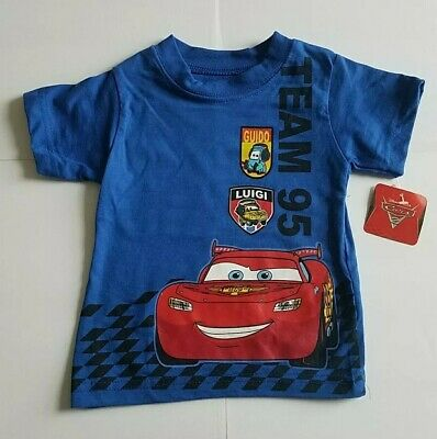 Disney Pixar Cars Baby Boy T-Shirt Size NWT 12 Months Blue Red