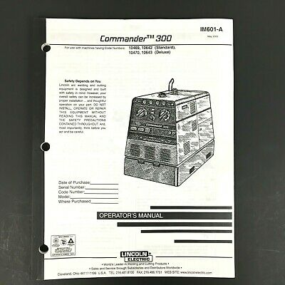 Lincoln Electric Commander 300 Operator's Manual IM601-A
