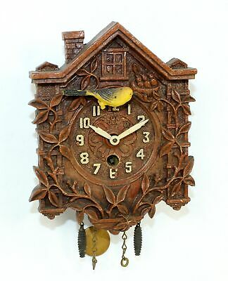 VINTAGE LUX NOVELTY CUCKOO CLOCK with SLIDING BIRD FEEDING NEST- TB79