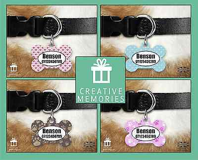 Custom Personalised Pet Dog Name ID Tag For Collar Pet Tags - Dog Patterns