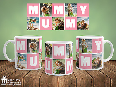 Personalised Photo Mother's Day Mug Gift - Coffee Cup - Mummy Pink