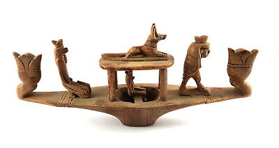 Very Rare Ancient Egyptian Antique Funerary Boat W/t Hieroglyphs Anubis Horus