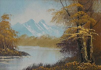 Expansive Mountain Landscape Across a Lake Oil Paining Unsigned c1990s