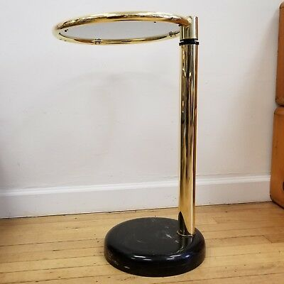 RARE Mid Century Modern Pace Brass Glass Swivel Side Table Marble Base AMAZING