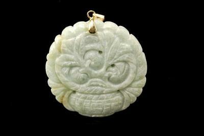 Vintage Chinese Carved Green Jade Flowers 14K Gold Pendant A712