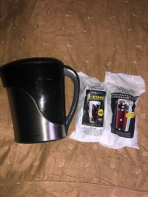 NEW ZEROWATER STAINLESS Steel 8 Cup Pitcher & 2 Zero Water Filters w