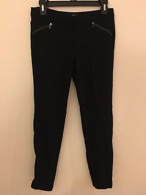 Womens Adrianna Papell Black Dress Pants 4 Skinny Ankle Length Zipper Stretch
