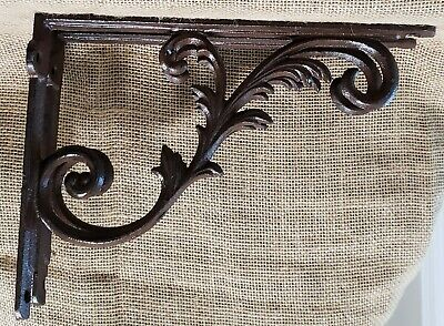 "Lot of 2 Semi ORNATE Design Shelf Brackets Cast Iron 9 7/8"" X 7 1/8"" X 1 3/4"""