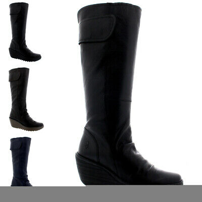 6d099a91456fe FLY LONDON MOL 2 Womens Ladies Leather Zip Up Knee High Wedge Boots ...