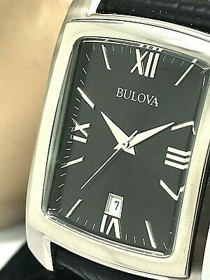 Bulova Classic Black Dial Date Roman Leather Strap Quartz Men's Watch 96B269