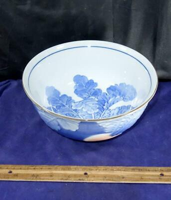 Vintage Japanese Asian Blue & White Porcelain Footed Bowl Turnips Japan !!