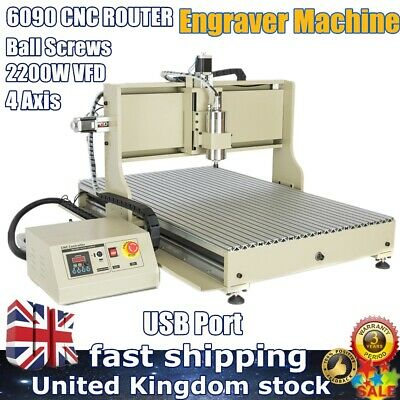 6090 4 Axis USB CNC Router Engraver Wood Carving Engraving Milling Machine 2200W