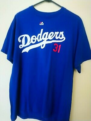 Vintage Dodgers Baseball  31 Piazza Blue Cotton Tshirt Sz L