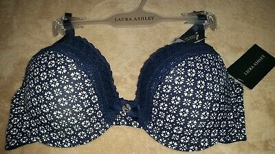 f368abf241f247 NWT MSRP  28 Laura Ashley Bra Navy Floral Padded Plunge Comfort Stretch 34 C