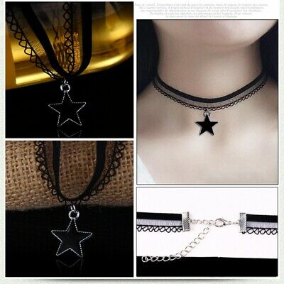 Women's Black Lace Flower Chocker Collar Chunky Necklace Pendant Gothic Jewelry