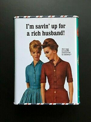 I'm Savin' Up For A Rich Husband! Sexually Attracted To Money Blue Q Tin Bank