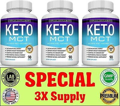 Keto Diet MCT OIL Pills 1000 MG Weight Loss Fat Burner & Carb Supplement 3 Month