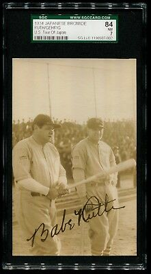 1934 Japanese Baseball Bromide Babe Ruth & Lou Gehrig Tour Of Japan Sgc 84 Psa 7