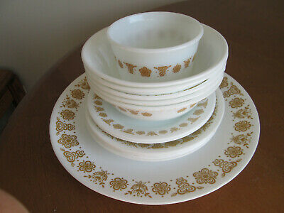 Odd Lot Of 14 Corelle Butterfly Gold Plates Saucers Cereal Bowls Remkin