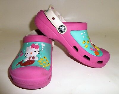b910b6543 CROCS Pink Hello Kitty Mermaid Crocband Sandal Clogs - Girls Size 12 - 13