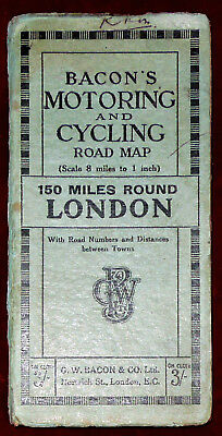 "Bacon's Motoring & Cycling Linen Backed 1"":8 Miles Map Of 150 Miles Round London"