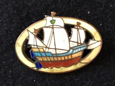 Antique Vintage Art Deco Sterling Silver Guilloche Enamel Masted Ship Brooch Pin