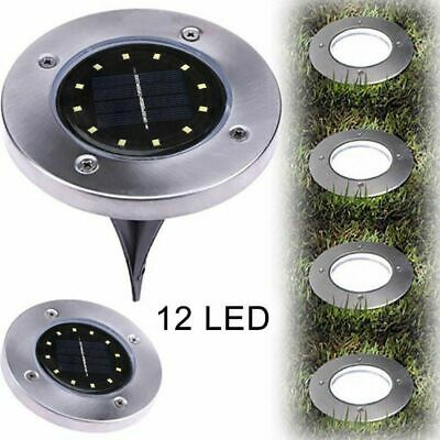 12 LED Solar Powered Buried Light Disk Lights Under Ground Lamp Outdoor Decking