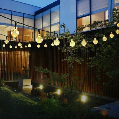 30 50 LED Solar Powered Garden Party Fairy String Crystal Ball Lights Outdoor