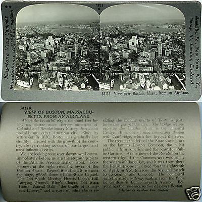Keystone Stereoview Aerial view of BOSTON, MA & Harbor From 600/1200 Card Set #A