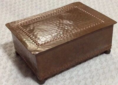 English /Arts and Crafts Hand-Hammered Copper and Cedar Lined Humidor Box