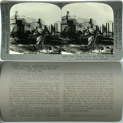 Keystone Stereoview SHAFT HOUSE /& SMELTER Zinc /& Lead from 1910's Education Set