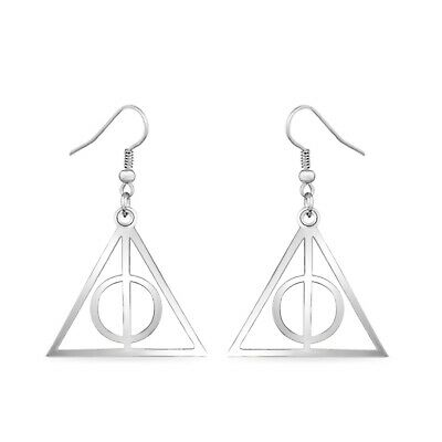 dc8e8d42d Harry Potter Deathly Hallows Dangle Earrings In 14k White Gold Over For  Womens