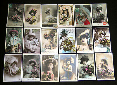 Lot A22 : 18 Cpa Mode Chapeau Miss Lady Elegance Couture Pin-Up Hat Woman 1900