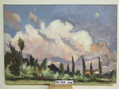 Painting Antique Oil on board Landscape before Overshoes Opera Authentic P25