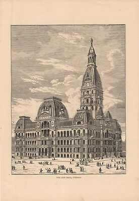 Late 1800's Very Old Print Of The City Hall Building in Chicago