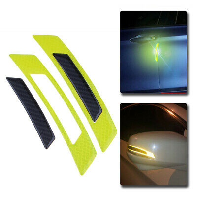 2PCS Yellow Reflective Carbon Fiber Car Side Door Edge Protector Guard Sticker