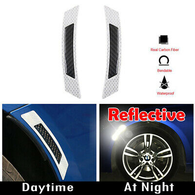 2PCS White Reflective Carbon Fiber Car Side Door Edge Protector Guard Sticker