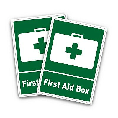 2 x First Aid Box Sign Stickers First Aid Cross Emergency Safety Symbols S1040