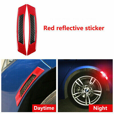 2PCS Red Reflective Carbon Fiber Car Side Door Edge Protector Guard Sticker