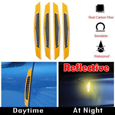Orange Reflective Carbon Fiber Auto Car Side Door Edge Protector Guard Sticker