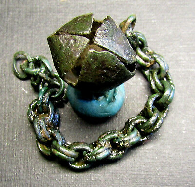 Ancient Bronze  Viking Pendant.  Chain BELL (A777).