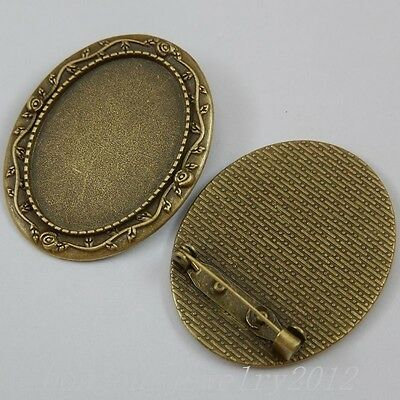 50262 Vintage Bronze Alloy Oval Cameo Base Setting Pin Pendants Charms Crafts 8x